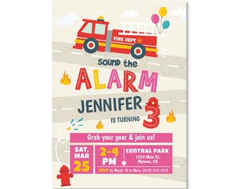 NEW! Printed Fire Truck birthday invitations