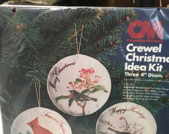 1978 Columbia Minerva Vintage Crewel Christmas Ornaments Idea Kit / Audubon / Birds / Keep them busy perfect summer crafts