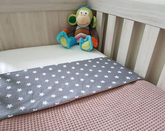 Crib blanket gray with white stars/old pink waffle fabric