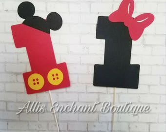 Mickey Mouse Cupcake Topper, Mickey Mouse Clubhouse, Birthday Decorations, Minnie Mouse Bow, Mickey and Minnie Mouse