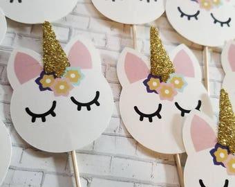 Unicorn Cupcake Toppers, Cupcake Decorations, Toothpick Cupcakes, Golden Unicorn, Birthday Party Decorations, Unicorn Centerpiece