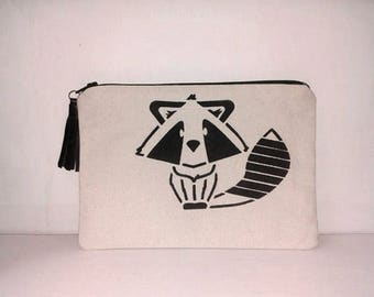 Raccoon unbleached cotton with leather tassel bag