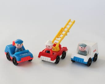 Fisher Price Little People, FIRE Truck, POLICE Car, Mail Truck, #997 Play Family Village, 1973-1977, Made in U.S.A.