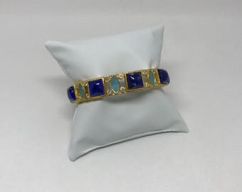 Handmade gemstone Bangle Bracelet 24 k gold-plated