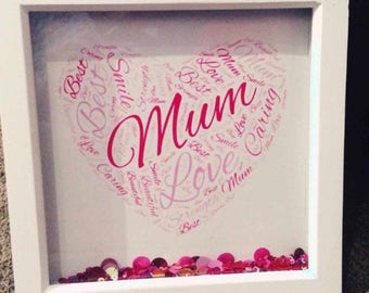 Personalised Handmade Word Frames perfect for any relation or Occasion Mum Nan Sister Message