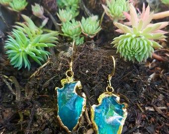 Teal quartz with gold