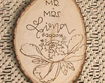 Wood Burned Wood Round Wedding Sign