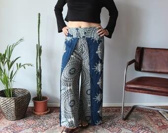 Green Mandala Wrap Pants / Flowy Split Leg Green Pants / Green Rayon Pants / SL002