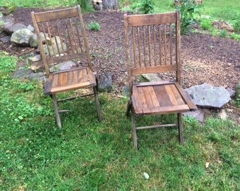 Great Old Wooden Folding Chairs