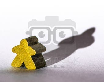 8x10 Photo Art Print: Meeple with a Shadow - Color/Yellow