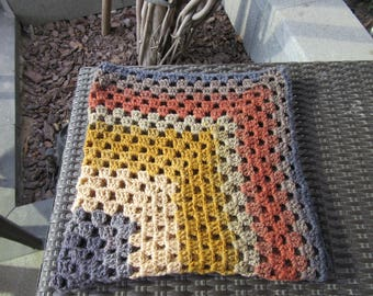 Mustard & Red Granny Square Blanket