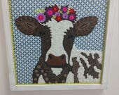 Handmade Embroidered Cow ...