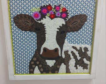 Handmade Embroidered Cow Art