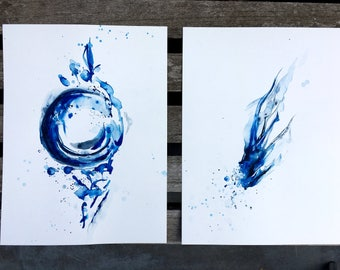 Painting: see foam. Two original watercolor paintings. Home decor. Modern art. Minimalistic style.