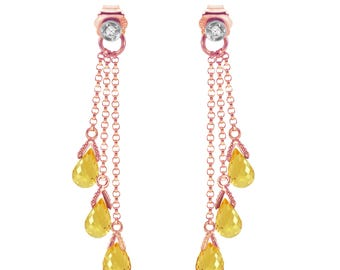 14K Solid Rose Gold Chandelier Earrings with Diamonds & Citrines