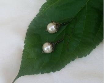 Faux antique pearl earrings