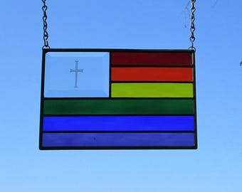 Pride Rainbow Flag With Cross Stained Glass|Beveled Glass Panel Suncatcher R2
