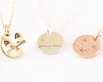 Happy Cat Necklace - Cat Lover's Necklace - Cat Necklace - Dainty Necklace