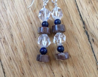 Oregon Opal, Lapis and Clear Quartz Earrings with Sterling Silver - Free U.S. Shipping