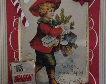 Vintage Christmas Card/Handmade/3D/Child Carrying Christmas Packages/Has Two Greetings on Front