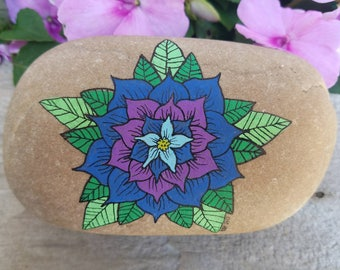Unique Floral Meditation Stone for Yoga or Office Paperweight