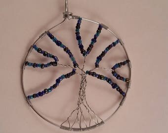 Steel Purple Tree of Life Pendant