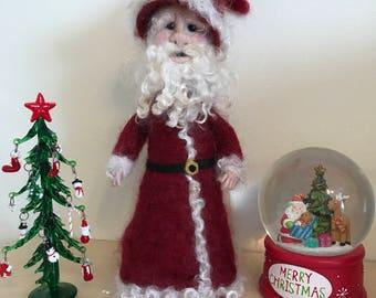 Handmade unique needle felted Santa