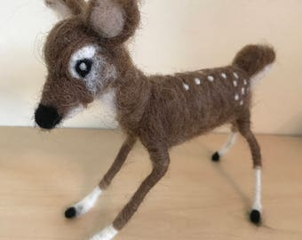 Handmade unique needle felted fawn deer