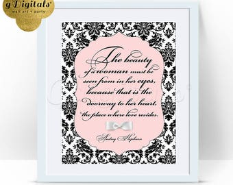 Pink Audrey Hepburn wall art, home decor, bridal, quotes as party favors, 8x10 {Damask-Pattern Blush Pink/White/Black}