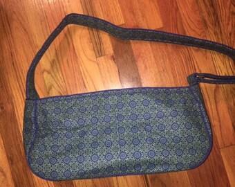 Beautiful Blue and Green Flowered Medallion Large Dog Tote Bag, Pet Carrier, Dog Sling, Messenger Bag