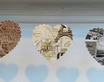 Heart Garland, Paris Themed Wedding Garland, Heart Banner, Rustic Wedding Garland, Wedding Bunting, Home Decoration, Wedding Banner.