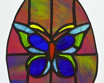 Large Egg With Butterfly - Stained Glass