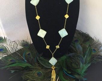 Aventurine Necklace with Tassel Pendant by Dobka
