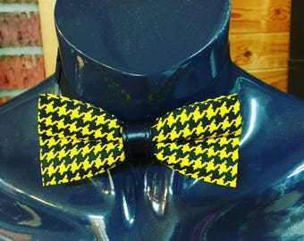 Yellow & Black Houndstooth Bow Tie