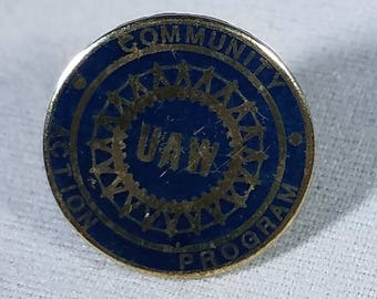 Vintage-Pin-Blue-Unity-Action-Community-Program-Jewelry-Accessories-Collectibles-UAW-Gold Toned
