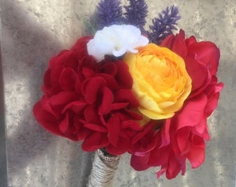 Pink/ purple/ orange/ yellow/ red floral bouquet