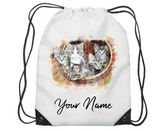 Personalised Watercolour Kittens Gym Bag PE Dance Sports School Swim Shoe Bag Waterproof