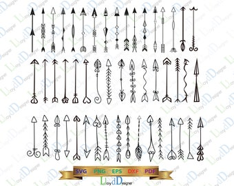 60 Arrow svg Arrow ornaments Hand drawn Arrow DXF Arrow decor print Arrow Clipart svg eps dxf png cut files for silhouette cameo cricut
