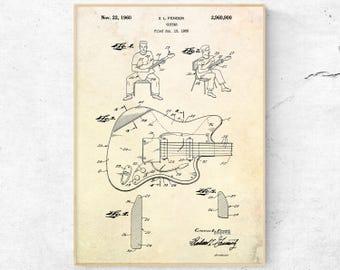 Fender Guitar Patent Print. Electric Guitar Poster. Guitar Decor. Guitar Wall Art. Fender Blueprint. Musician Gift. Music Room Wall Art.