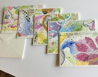 Handmade set of five collaged greeting cards