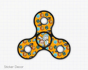 Rick and Morty, Fidget Spinner Sticker Decal, Fidget Toy, Hand Spinner, Stress Toy