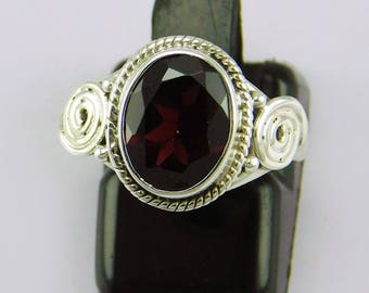HANDMADE 925 Sterling silver red garnet  gemstone ring