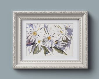 Small Original Floral Watecolor Painting with Camella Flowers. Watecolor Camella flower bouquet  with leaves Bright and Light