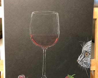 Cat Looks On As Mouse Is Ready To Feast On Strawberry With A Glass Of Wine