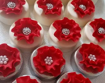 Fancy Red Flower Dipped Oreos