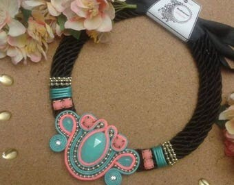 Soutache Necklace Spring Colors