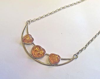 Amber Hearts Necklace
