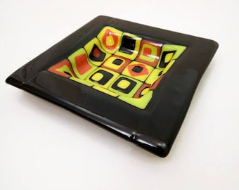 fused glass dish, glass art, trinket dish, ashtray, glass ashtray, nibble dish, glass art