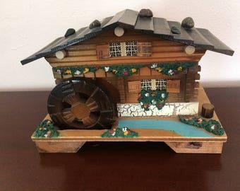 Alpine Chalet Swiss Music Box with Water Wheel