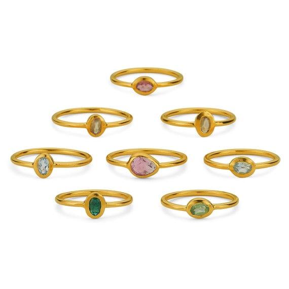 Minimalist Ring Silver, Natural Stone Ring Silver, Silver Tourmaline Ring, Peridot Ring, Citrine Ring, Blue Topaz Ring, Ruby Ring, Minimal